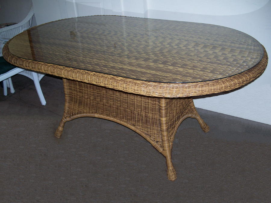 "42"" x 72"" Outdoor Wicker Dining Table"