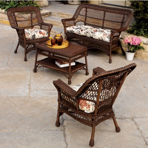 Mackinac 4 Piece Outdoor Wicker Seating Set
